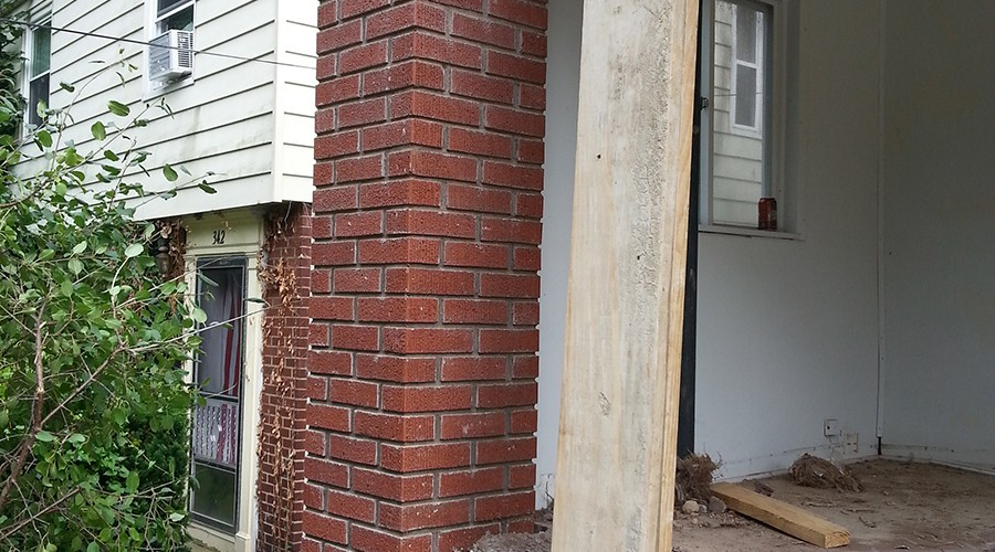 Brick And Stone Columns : Brick and stone column rebuilding restoration