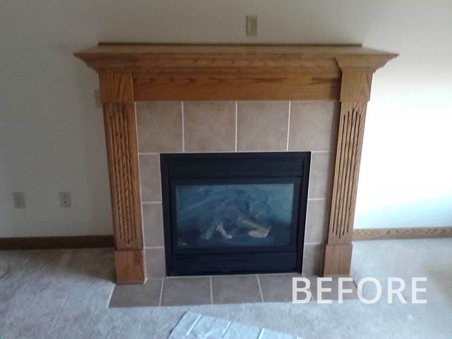 Before-Fireplace Refacing